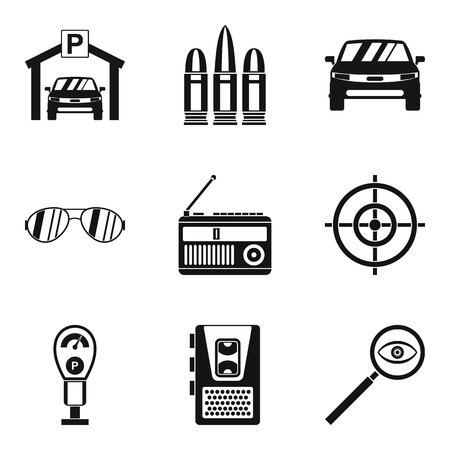 Action movie icons set, simple style