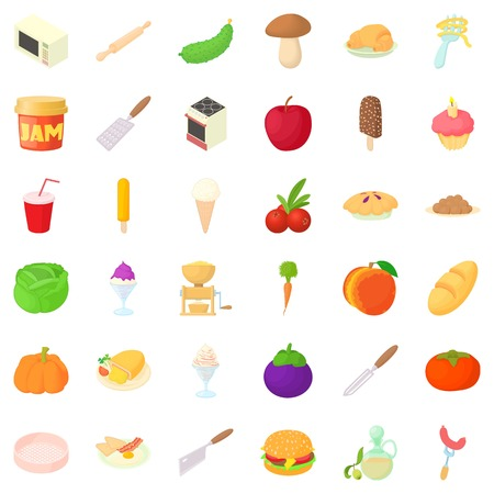 Spaghetti icons set, cartoon style Illustration