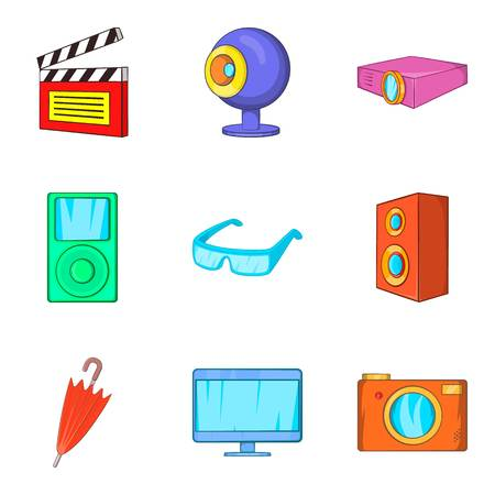Film editing icons set, cartoon style Иллюстрация