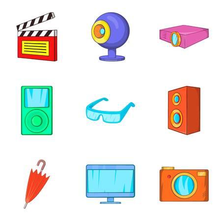 Film editing icons set, cartoon style
