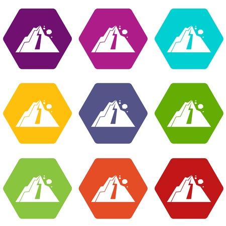 Rockfall icon set color hexahedron