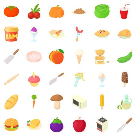 Kitchen icons set. Cartoon style of 36 kitchen vector icons for web isolated on white background Illustration