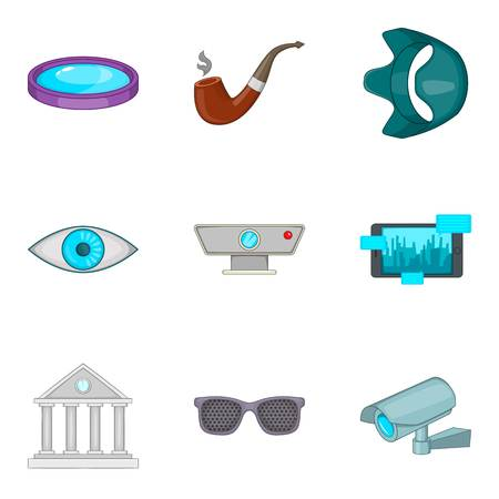 camera film: Hidden camera icons set. Cartoon set of 9 hidden camera vector icons for web isolated on white background