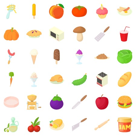 Cooking icons set. Cartoon style of 36 cooking vector icons for web isolated on white background Illustration