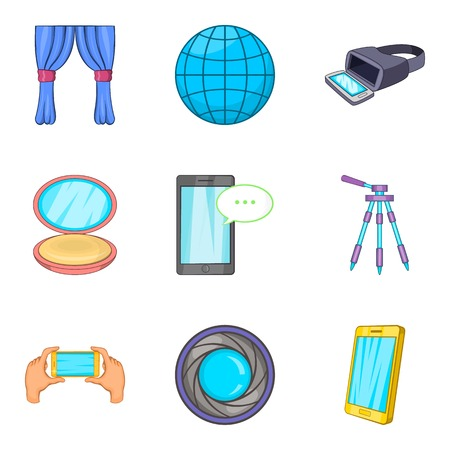 Home entertainment icons set, cartoon style