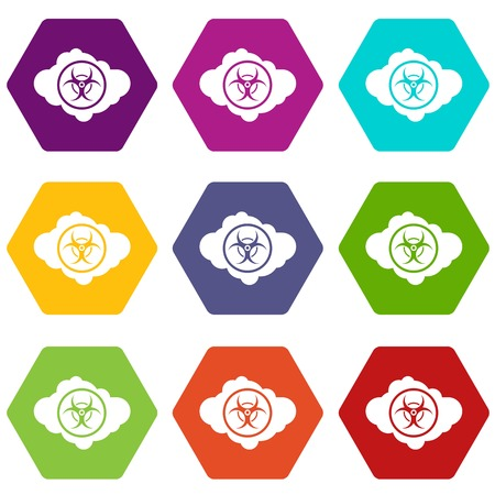 poison sign: Cloud with biohazard symbol icon set color hexahedron