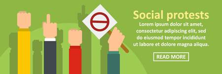 Social protests banner horizontal concept