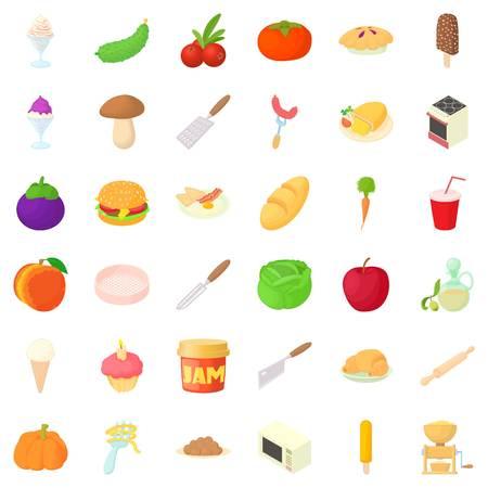 Dish icons set, cartoon style