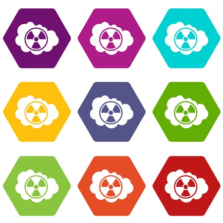 uranium: Cloud and radioactive sign icon set color hexahedron Illustration