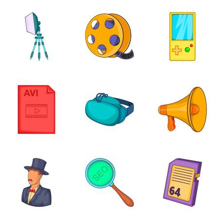 Video icons set, cartoon style
