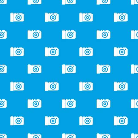 camera film: Photo camera pattern repeat seamless in blue color for any design. Vector geometric illustration
