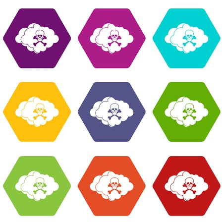 poison sign: Cloud with skull and bones icon set many color hexahedron isolated on white vector illustration