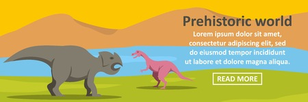 triceratops: Prehistoric dino world banner horizontal concept. Flat illustration of prehistoric dino world banner horizontal vector concept for web design