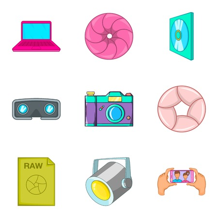 camera film: TV series icons set. Cartoon set of 9 tv series vector icons for web isolated on white background
