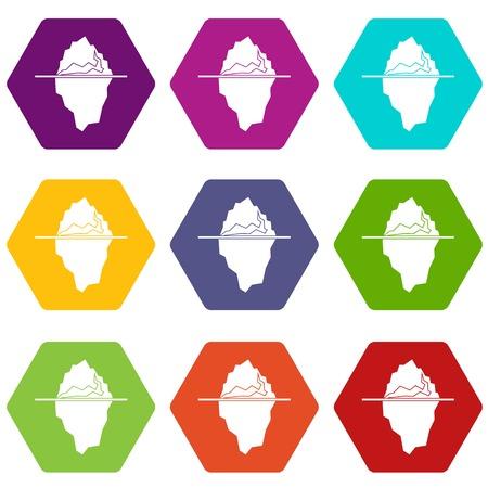 floe: Iceberg icon set many color hexahedron isolated on white vector illustration Illustration