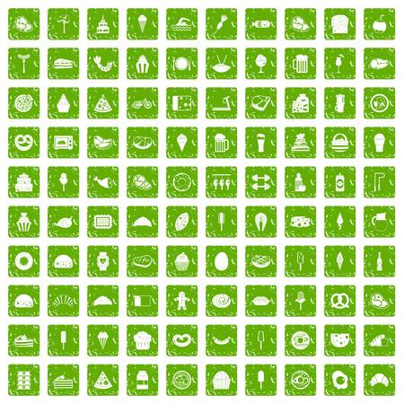 100 calories icons set in grunge style green color isolated on white background vector illustration