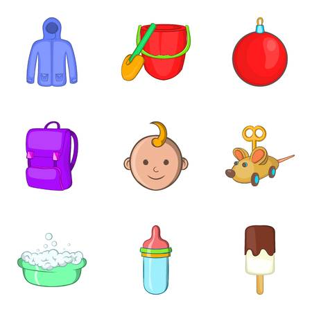 Parenthood icons set. Cartoon set of 9 parenthood vector icons for web isolated on white background