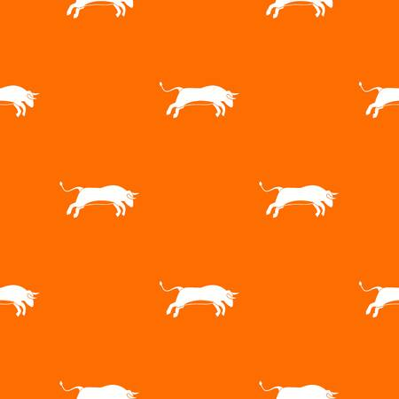 Bull pattern repeat seamless in orange color for any design. Vector geometric illustration
