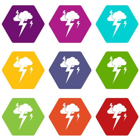 Cloud and lightning icon set many color hexahedron isolated on white vector illustration