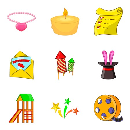 Children media icons set. Cartoon set of 9 children media vector icons for web isolated on white background Illustration