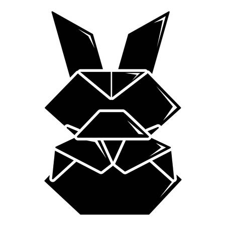 black hole: Origami bunny icon. Simple illustration of origami bunny vector icon for web