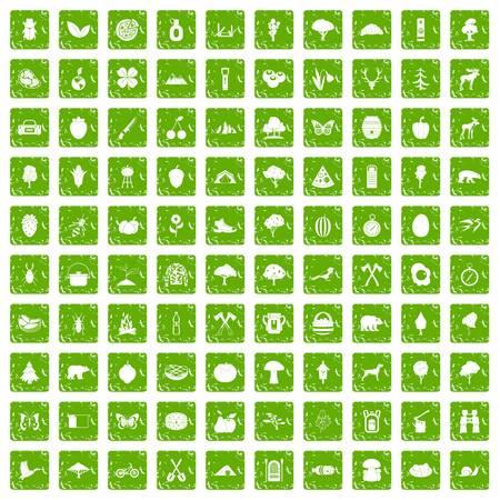 100 kampierende und Naturikonen stellten in die grüne Farbe der Schmutzart ein, die auf weißer Hintergrundvektorillustration lokalisiert wurde