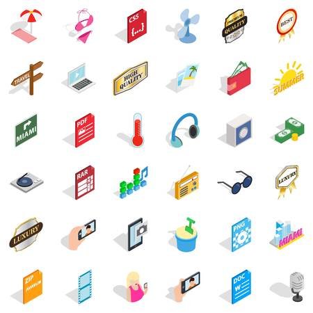 Hdd icons set. Isometric style of 36 hdd vector icons for web isolated on white background Illustration