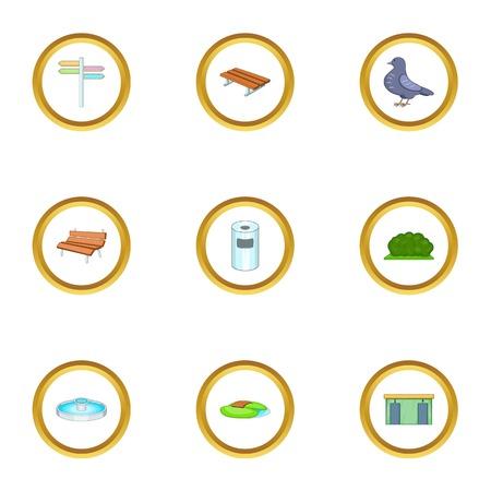 Icônes de parc urbain définies . ensemble de style de bande dessinée de 9 icônes de vecteur de drapeau urbain pour la conception web Banque d'images - 87385651