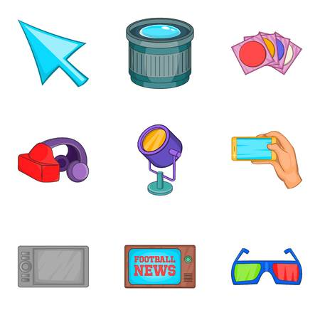 camera film: Shooting icons set. Cartoon set of 9 shooting vector icons for web isolated on white background