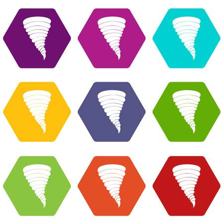 Tornado icon set many color hexahedron isolated on white vector illustration Illustration