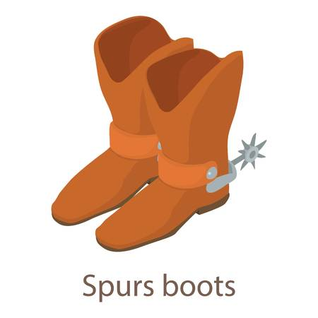 Spurs boots icon. Isometric illustration of spurs boots icon for web