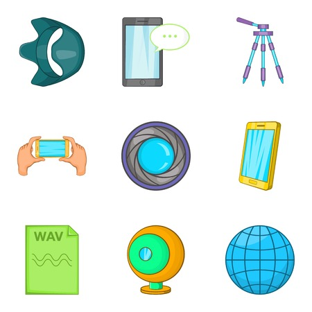 camera film: Mobile survey icons set. Cartoon set of 9 mobile survey vector icons for web isolated on white background Illustration