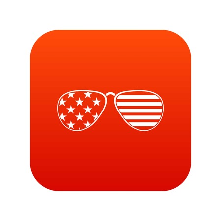 American glasses icon digital red for any design isolated on white vector illustration Illustration