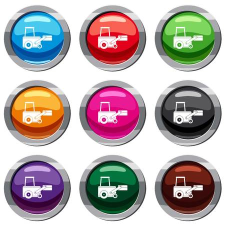 Truck to lift cargo set icon isolated on white. 9 icon collection vector illustration Illustration