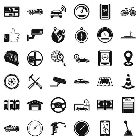 Machine icons set. Simple style of 36 machine vector icons for web isolated on white background Imagens - 87385692