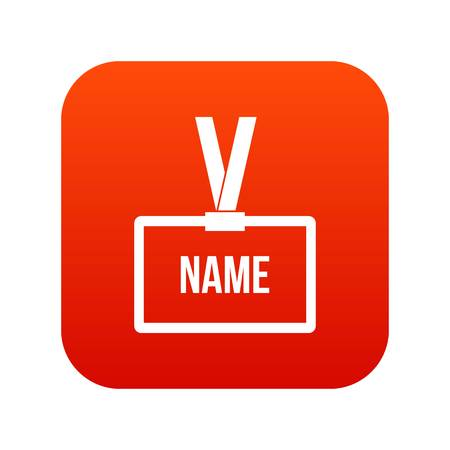 Plastic Name badge with neck strap icon digital red for any design isolated on white vector illustration