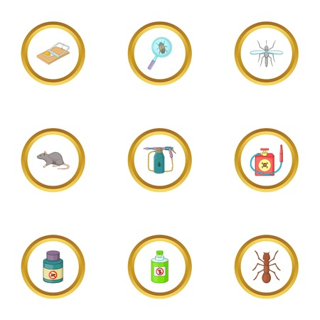 poison sign: No insect icons set. Cartoon style set of 9 no insect vector icons for web design