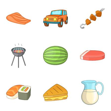 Picnic icons set. Cartoon set of 9 picnic vector icons for web isolated on white background