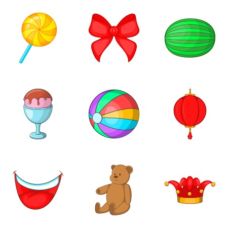 Unlimited fun icons set. Cartoon set of 9 unlimited fun vector icons for web isolated on white background Illustration