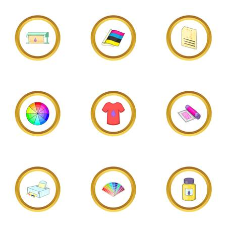 Print process icons set. Cartoon style set of 9 print process vector icons for web design