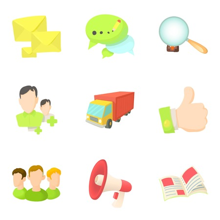Goods delivery icons set. Cartoon set of 9 goods delivery vector icons for web isolated on white background
