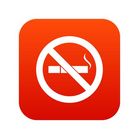 poison sign: No smoking sign icon digital red Illustration
