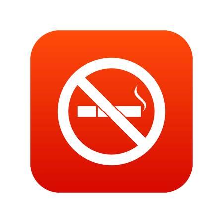 No smoking sign icon digital red Illustration