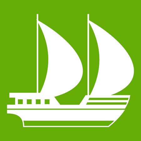 Big yacht icon green Illustration