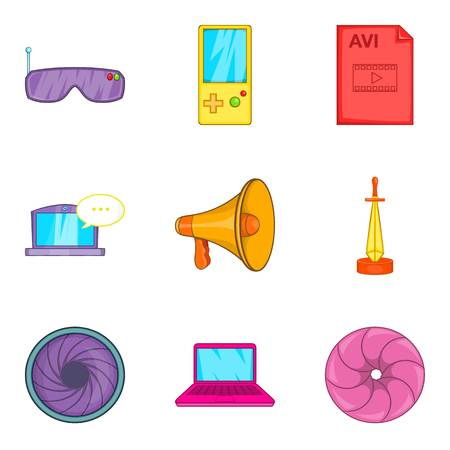Screen adaptation icons set, cartoon style