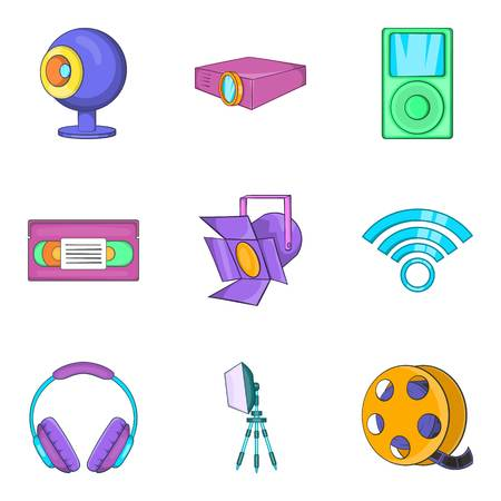 Light exposure icons set, cartoon style