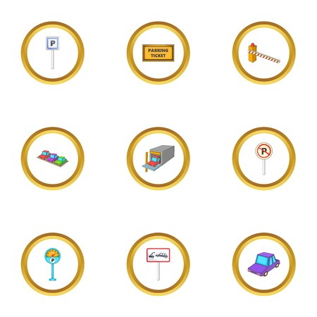 Car parking icons set. Cartoon style set of 9 car parking vector icons for web design