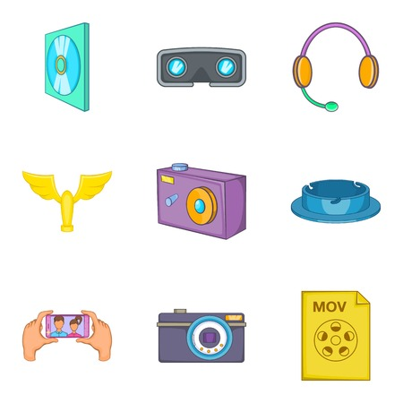 camera film: Filming icons set. Cartoon set of 9 filming vector icons for web isolated on white background Illustration