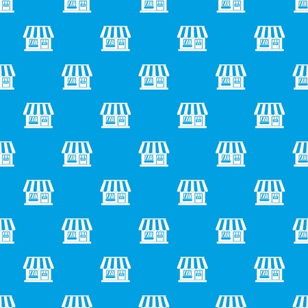 device: Shop pattern repeat seamless in blue color for any design. Vector geometric illustration Illustration