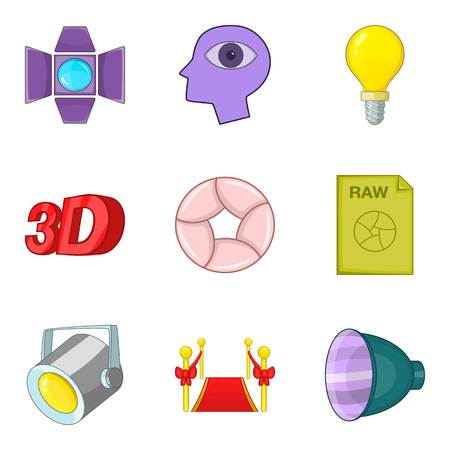Shooting a movie icons set. Cartoon set of 9 shooting a movie vector icons for web isolated on white background Illustration